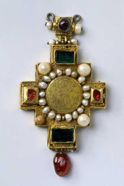 Панагия в форме креста «Богоматерь Знамение»