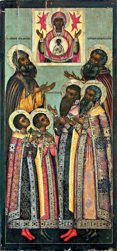 Избранные святые в молении перед иконой Богоматери Знамение