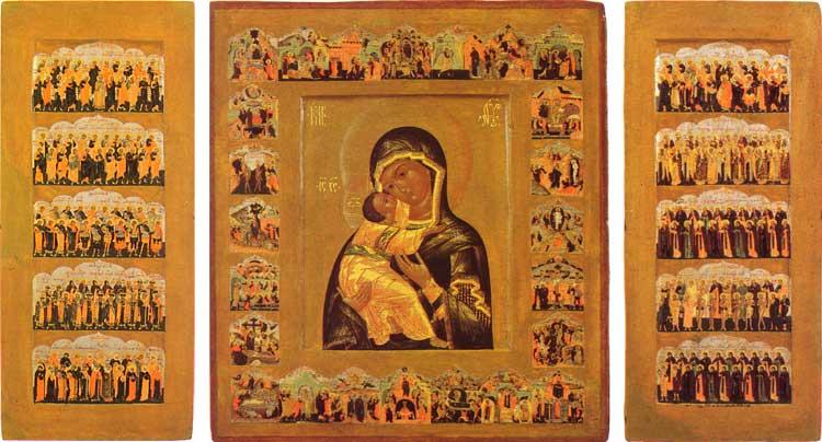 Богоматерь Владимирская с праздниками и ликами святых