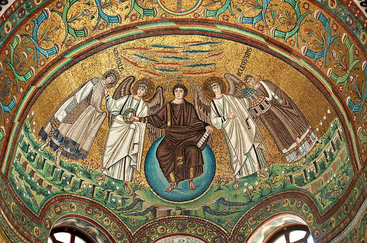Христос Эммануил, ангелы, св. Виталий и епископ Экклесий