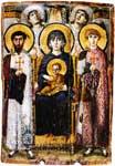 Богоматерь с Младенцем и святыми Феодором и Георгием