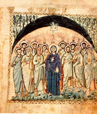 Сошествие Святого Духа - Кодекс Рабулы [cod. Plut. I, 56], л. 14 об.