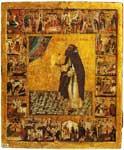 Преподобный Варлаам Хутынский с житием в 20 клеймах