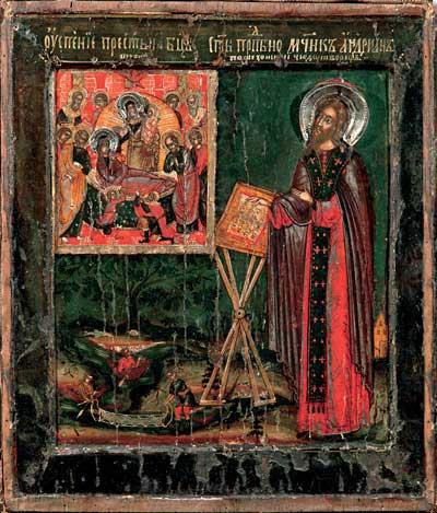 Преподобномученик Адриан Пошехонский в молении перед образом Успения Богоматери