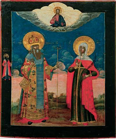 Святитель Александр Константинопольский и мученица Анна, со святым равноапостольным князем Владимиром