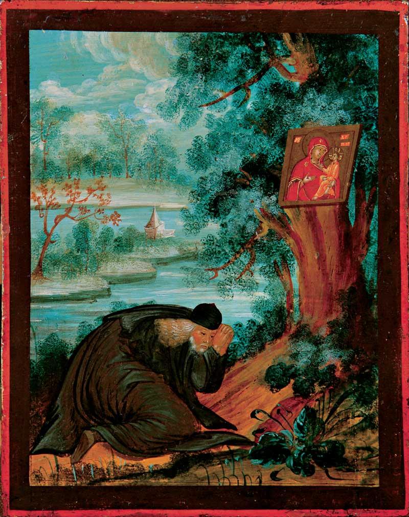 Преподобный Дорофей Югский в молении перед образом Богоматери Югской