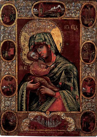 Богоматерь Почаевская с клеймами чудес