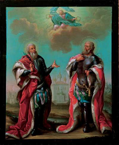 Святые благоверные князья Василий и Константин, ярославские чудотворцы, предстоящие Христу Вседержителю