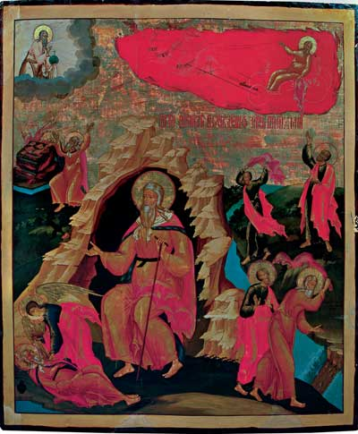 Огненное восхождение пророка Илии, со сценами жития