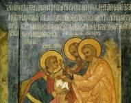Апостолы Петр и Павел вручают ордынскому царевичу Петру деньги на строительство храма