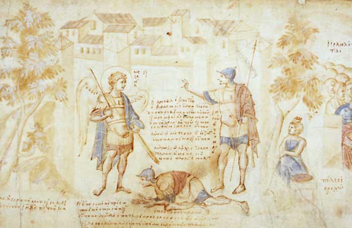 Явление ангела Иисусу Навину у стен Иерихона - Свиток Иисуса Навина [Palat.gr.431],
