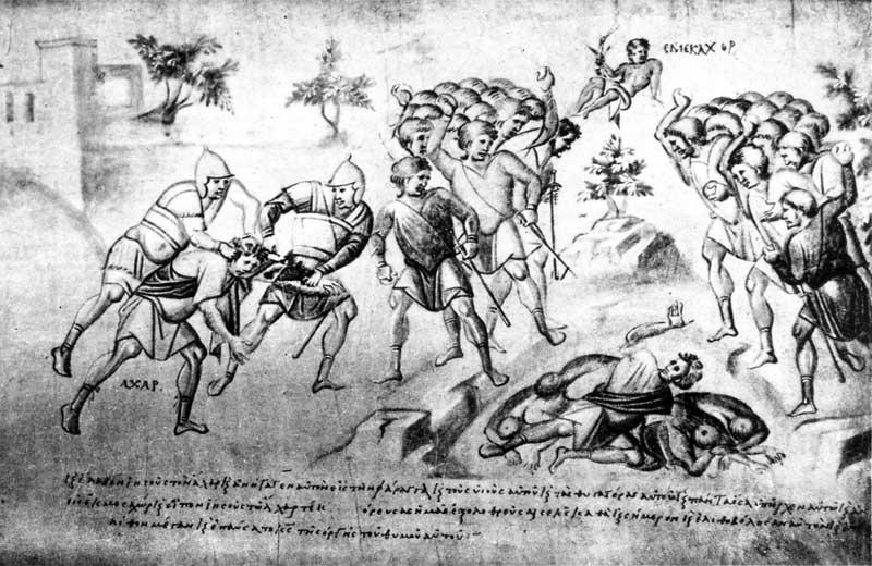 Побиение Ахана камнями - Свиток Иисуса Навина [Palat.gr.431], л. 9