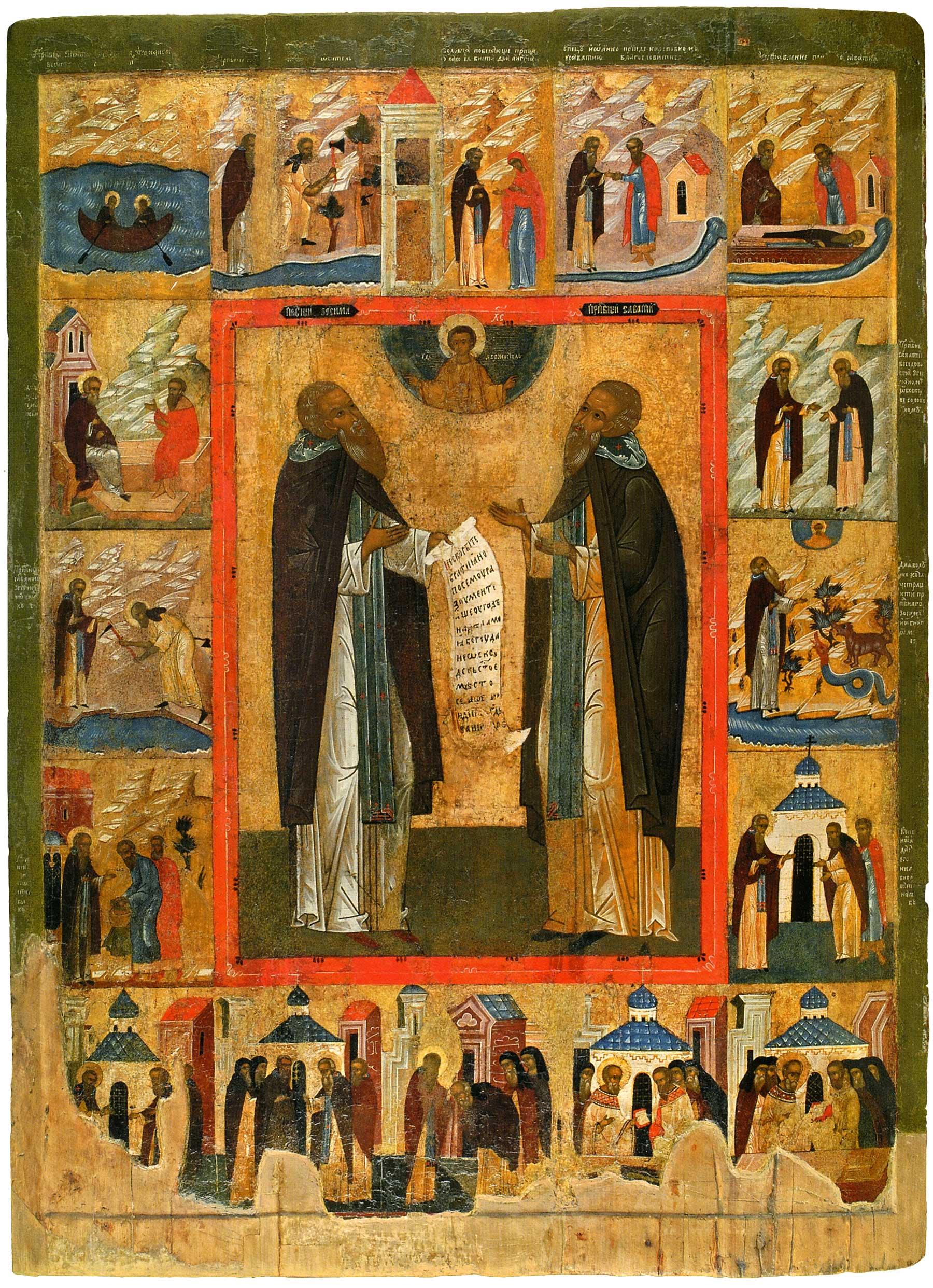 Преподобные Зосима и Савватий Соловецкие, с житием в 16 клеймах