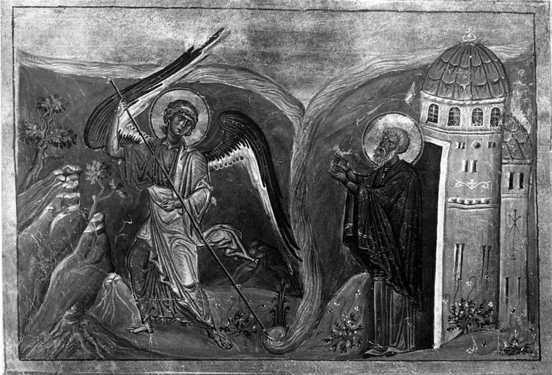 Чудо архангела Михаила в Хонах - Менологий Василия II (Ватиканский менологий) [Vat.gr.1613], с. 17
