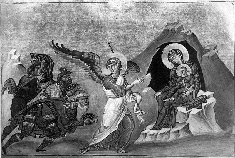 Поклонение волхвов - Менологий Василия II (Ватиканский менологий) [Vat.gr.1613], с. 212