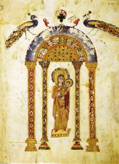 Богоматерь с Младенцем - Кодекс Рабулы [cod. Plut. I, 56], л. 1 об.