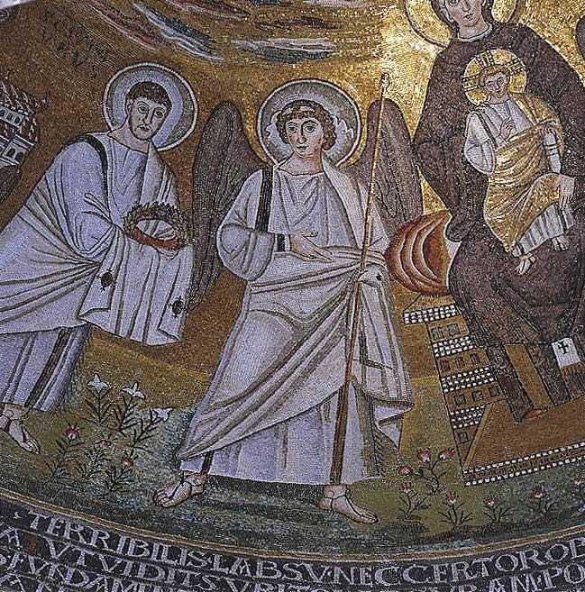 Младенец Христос, ангел и св. Мавр