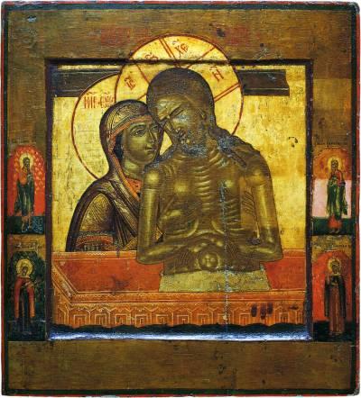 «Не рыдай Мене, Мати», со святыми на полях