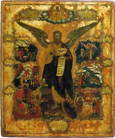 Иоанн Предтеча Ангел пустыни, с житием в шести клеймах