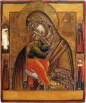 Богоматерь Умиление, со святыми на полях