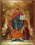 Спас на престоле с припадающими Сергием Радонежским и Макарием Желтоводским и Унженским