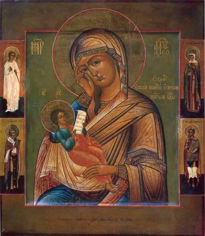 Богоматерь «Утоли моя печали», с четырьмя святыми на полях