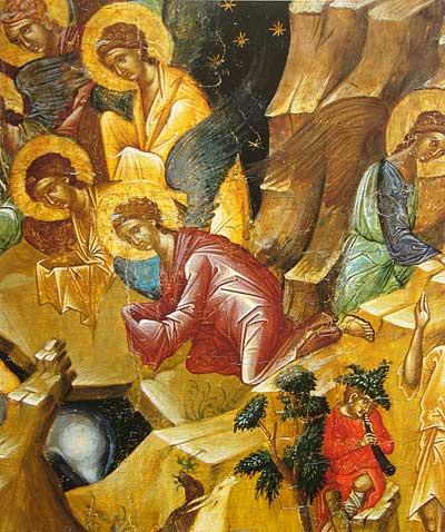Правая группа ангелов и Благовестие пастухам