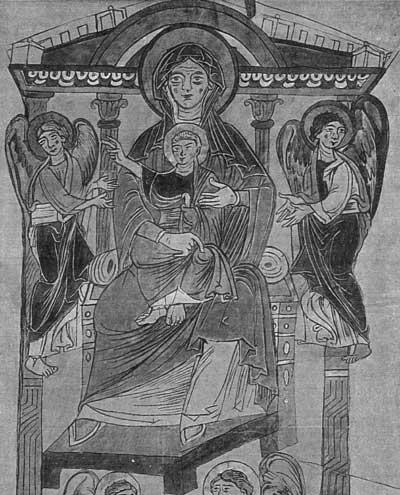 Богоматерь с Младенцем на троне - Евангелиарий [Cod.lat.3741],