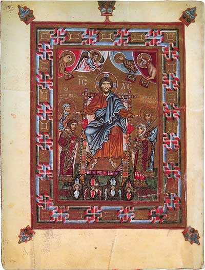 Christ enthroned crowning prince Yaropolk and princess Irene - Codex Gertrudianus (Psalterium Egberti) [cod.CXXXVI],