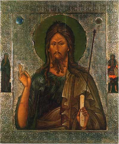Иоанн Предтеча, с избранными святыми на полях