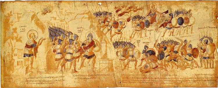 Взятие города Гая и его сожжение - Свиток Иисуса Навина [Palat.gr.431], л. 10