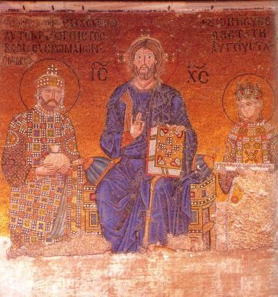 Христос между КонстантиномIX Мономахом и императрицей Зоей