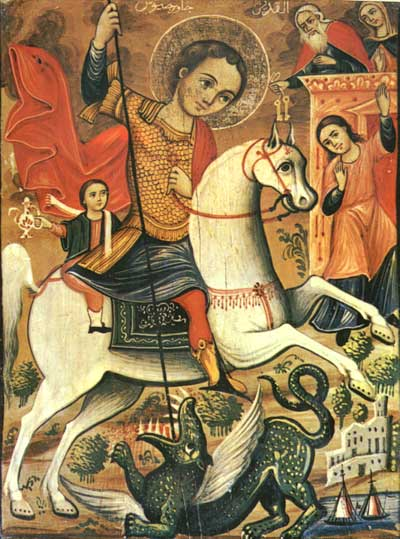 Saint George with the young mounted behind him kills the dragon
