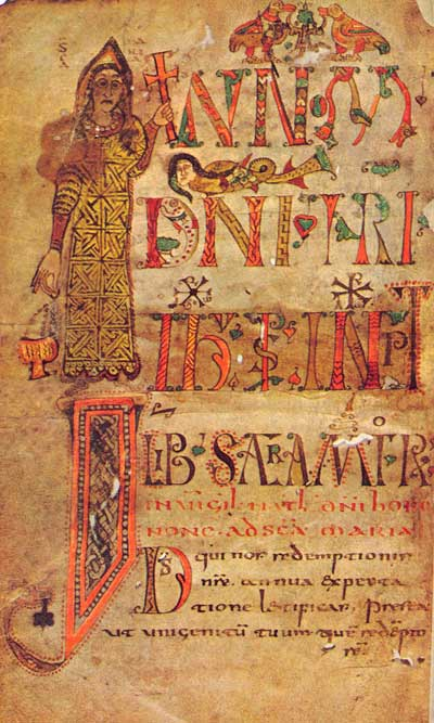 Богоматерь с крестом - Сакраментарий Геллоны [Lat.12048], л. 1 об.