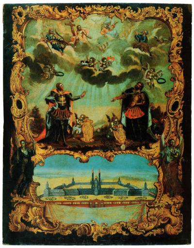 Святые князья Александр Невский и Феодор, с видом Александро-Невского монастыря