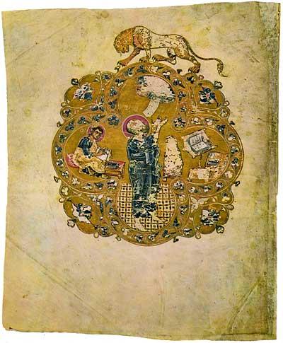 St John the Evangelist and Prochorus - Ostromir Gospels [F.п.I.5],