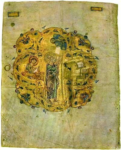 Евангелист Иоанн и Прохор - Мстиславово Евангелие [Син.1203, ГИМ 80370], л. 1 об.