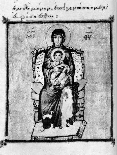 Богоматерь с Младенцем - Псалтирь [Theol.gr.336], л. 16