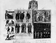 Аллегорические сцены, Иоанн Лествичник с монахами, прощающиеся родители, друзья и братья и три сцены из Страшного суда