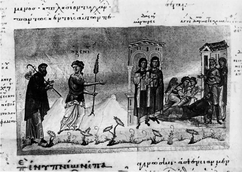 Сцены из монашеской жизни - Лествица Иоанна Лествичника [Vat.gr.394], л. 17 об.