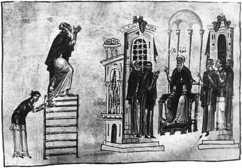 Сцена из монашеской жизни - Лествица Иоанна Лествичника [Vat.gr.394], л. 66 об.