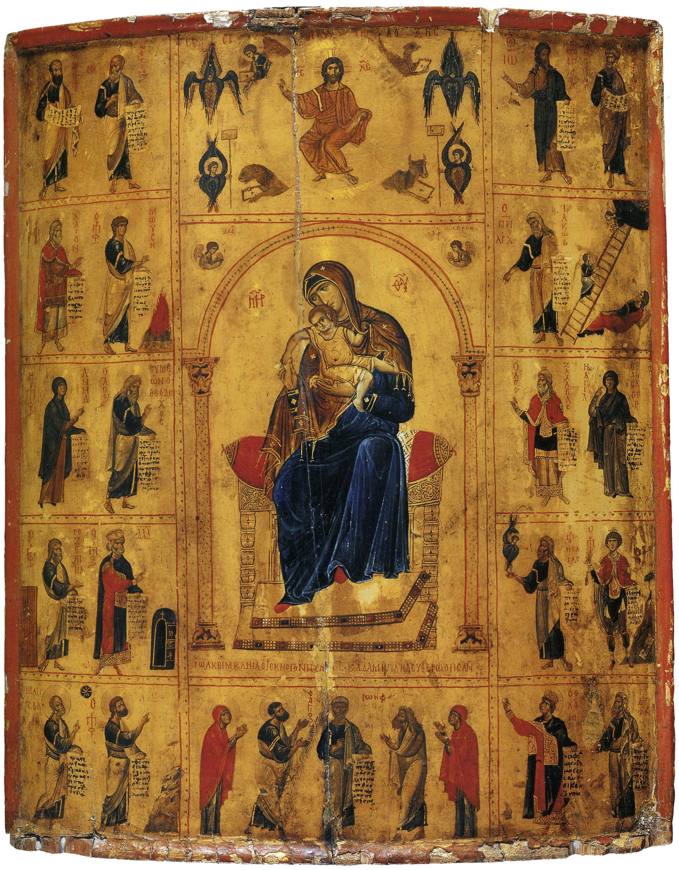 Богоматерь с Младенцем и избранными святыми на полях