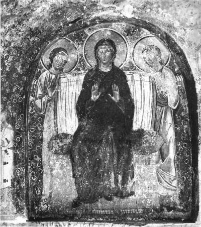Богоматерь на троне с двумя ангелами