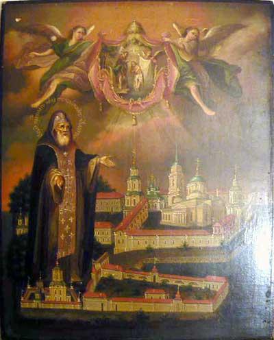 Св. Нил Столобенский с видом Богоявленского монастыря