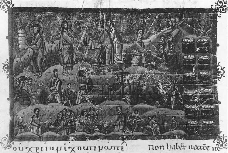 Умножение хлебов - Греческое Евангелие [gr. 54], л. 55