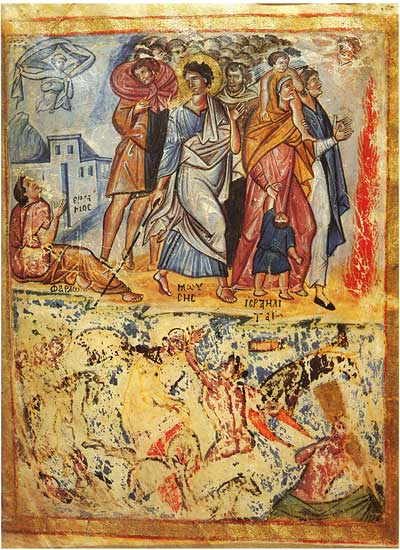 Переход через Красное море. Потопление войск фараона - Псалтирь [греч.269], л. 2