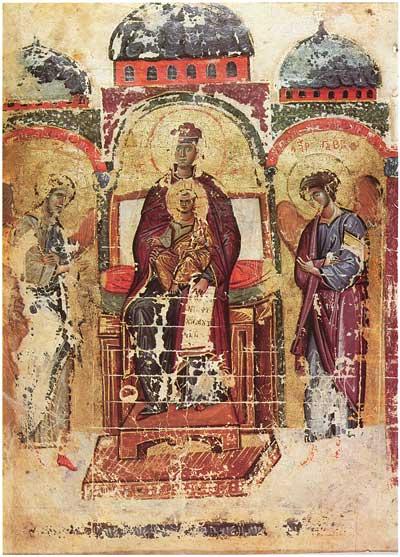 Богоматерь с Младенцем и архангелы Михаил и Гавриил - Псалтирь [греч.269], л. 4