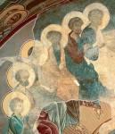 [Илл. с. 34] Сошествие Св. Духа. Фреска Успенского собора во Владимире. 1408 г. Левая часть композиции