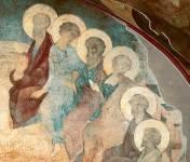 [Илл. с. 36] Сошествие Св. Духа. Фреска Успенского собора во Владимире. 1408 г. Правая часть композиции