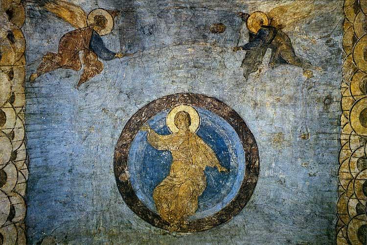 Христос во славе. Ангелы, свивающие небеса в свиток